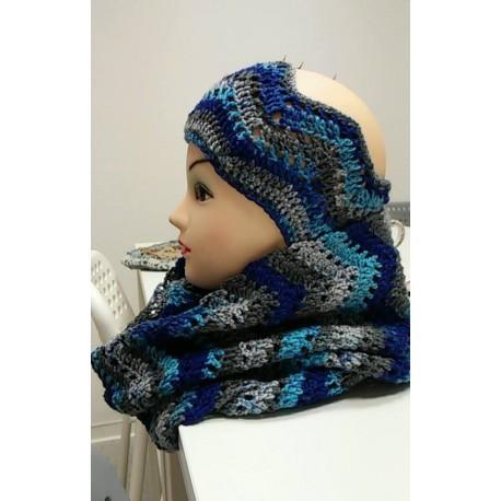 Kék harmónia női fejpánt/körsál szett