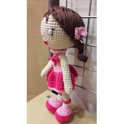 Suzie horgolt baba, rózsaszínben