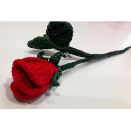 Horgolt rózsaszál