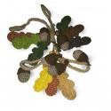 Őszi girland, tölgylevelekből és makkokból